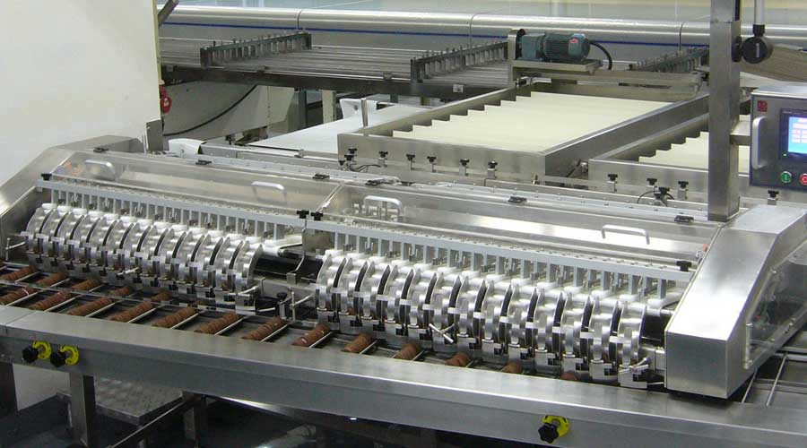 BISCUITS ON EDGE TRAY LOADER TRAYLESS PACKING MACHINE FEEDER 2